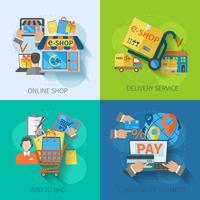 Shopping E-handel Flat vektor