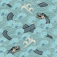 Asiatisch nahtlos mit Drachen und Wellen