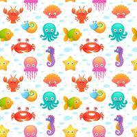 Söt havsdjur sömlösa mönster vektor