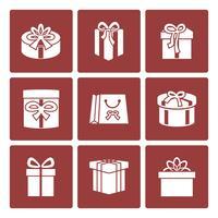 Presentkartongikoner inställda för onlineleveranswebbplats