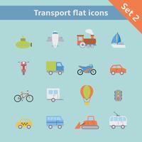 Transport platt ikoner uppsättning vektor