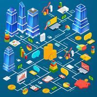 Kontorstadsinfrastrukturplanering infografisk vektor