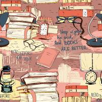 Böcker som läser sömlös bakgrund vektor