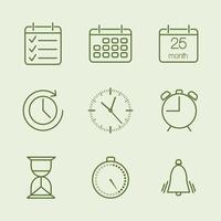 Konturerad tid och kalenderikoner vektor