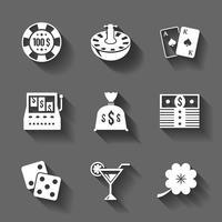 Spelande ikoner ställer in isolerade kontrastskuggor vektor