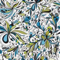 Seamless doodle blommig bakgrund