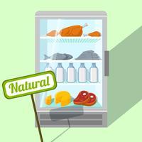 Naturliga livsmedel i kylskåp vektor