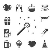 Celebration iconset, kontrast platt vektor