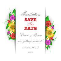 Tropische Blumen Einladungskarte Vorlage vektor