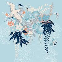Japansk kimono motiv med kran och blommor vektor