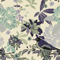 Seidenblumen und nahtloses Muster der Vögel vektor