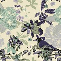 Silkeblommor och fåglar sömlösa mönster vektor