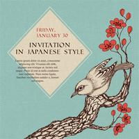 Firandeinbjudan i japansk stil vektor