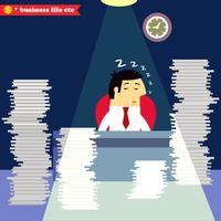 Affärsman sova vid skrivbordet