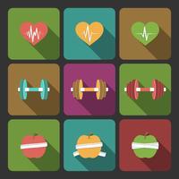 Fitnessübungen Fortschritt Icons Set vektor