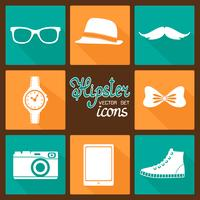 Hipster tillbehör pictograms set