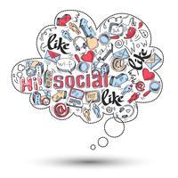 Doodle-Social-Media-Infografiken vektor