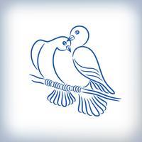 Symbol för två vackra duvor vektor