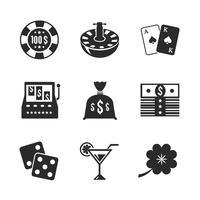 Casino ikoner för design, kontrast platt vektor