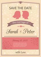 Spara datumbröllopinbjudningskortet vektor