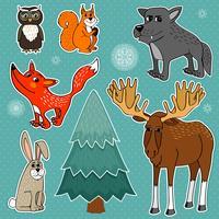 vinter skog djur vektor