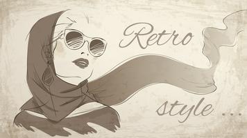 Tragendes Halstuch des schönen Retro- Frauenporträts vektor