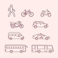 Transport ikoner av fotgängare, cykel, scooter, taxi, buss