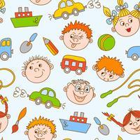 Seamless doodle leende pojkar och flickor vektor