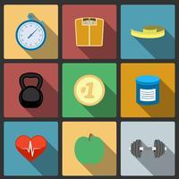 Fitness hälsosam livsstil ikoner uppsättning