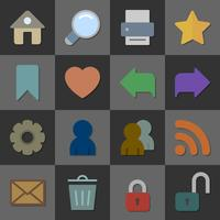 Sammlung Internet-Ikonen, flaches Design der Farbe vektor