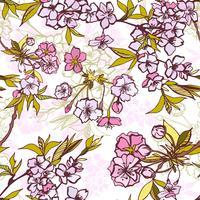 Nahtloses Hintergrundmuster mit blühender Kirschblüte vektor