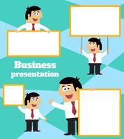 Geschäftsmann mit leerer Zeichenfahne und -plakat