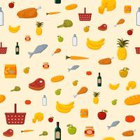 Supermarket matvaror sömlös bakgrund vektor