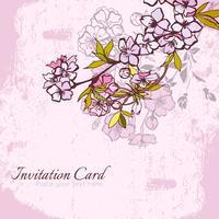 Blomning körsbär eller sakura inbjudan vykort vektor