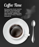 Skriv ut med realistisk kaffekopp vektor