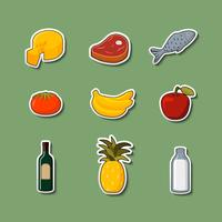 Supermarktnahrungsmitteleinzelteile auf Aufklebern