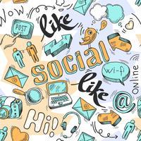 Seamless doodle sociala medier mönster bakgrund