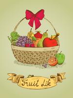 Frukt liv presentkorg med båge emblem vektor
