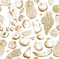 Hand gezeichnetes nahtloses Muster der Früchte