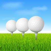 Golfbälle auf grünem Gras vektor