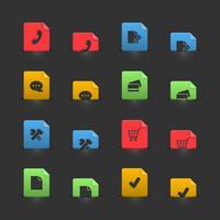 Online-Shopping-Iconset auf beweglichen Stubs vektor