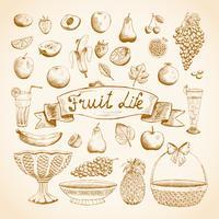 Skizzen von saftigen frischen Früchten