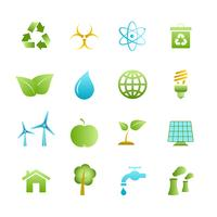 Grüne Öko-Icons gesetzt vektor