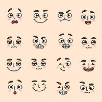 Gesichtsstimmung Ausdrucksikonen eingestellt vektor