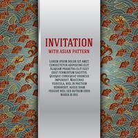Asiatiskt inbjudningskort med drakar och vågor vektor