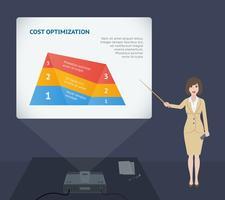 Geschäftsfraudarstellungsrede mit Projektor vektor