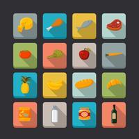 Supermarket livsmedel ikoner uppsättning vektor