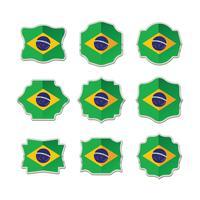 Brasilien Flagg samling av etikett, klistermärken och märke vektor