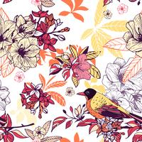 Seamless blommönster med fågel vektor