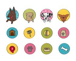 hundar ikoner uppsättning vektor